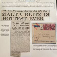 1942 Malta  Air Letter Censored WW2 Cover To Quebec Canada Sg Nadon
