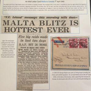 1942 Malta  Air Letter Censored WW2 Cover To Quebec Canada Sg Nadon