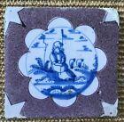 ANTIQUE MID 18C POLYCHROME DUTCH DELFT TILE SHEPHERD BLUE AND WHITE c.1760.