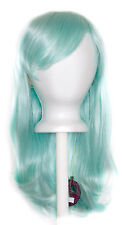 20'' Wavy Cut with Long Bangs Mint Green Cosplay Wig NEW