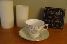 Vintage Royal Vale Footed Bone China Cup and Saucer Set 7290: C1953 England