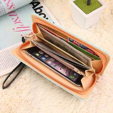 Women Cat Print PU Leather Wallet Zipper Wrist Strap Long Purse Fold Handbag DD
