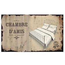 """Plaque de porte pour """"Chambre d'Amis"""" en métal écru Lit Rétro Vintage Class Déco"""