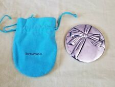 Tiffany & Co. Silverplate Purse Compact Hand Bow Ribbon Mirror in Pouch Used