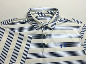 Under Armour Heat Gear white striped Polo Shirt, Men's Size Large