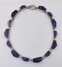 """Vintage Taxco Mexico Sterling Silver Modernist Lapis Lazuli Necklace 18.5"""""""
