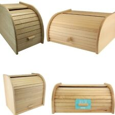 More details for wooden bread bin roll top rubber wood kitchen storage with slatted roll top box