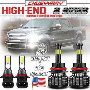 6-SIdes 9007 LED Headlight Bulb Kit 9145 9140 Fog Light for Ford F150 1999-2003