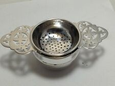 HEAVY SOLID SILVER  TEA STRAINER AND BOWL H/M