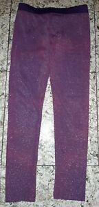 GIRL Sz 6 purple & shiny silver FUN SPIRIT stretchy leggings / pants COMFY!