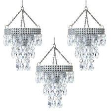 "Kurt Adler Crystal Chandelier 3.75"" Christmas Ornament Set of 3"