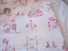 Pottery Barn Kids Pink Paris Toile Queen Flat Sheet Organic