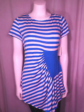 Eci New York Womens Tunic Top Size L Blue Stripes NWT Stretch