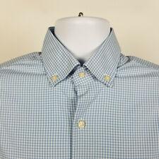Peter Millar Summer Comfort Blue Gingham Check Mens Dress Button Shirt Medium M