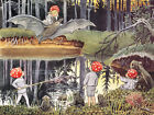 Painting Beskow Children Of The Forest Xxl Wall Canvas Art Print