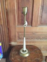 Vintage Mid Century Brass with White Accents Table Lamp