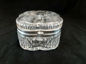 Large ABP Pairpoint/Mt Washington Cut Crystal Hinged Dresser Jewelry Box Casket
