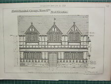 1877 DATED ARCHITECTURAL PRINT ~ FORD'S HOSPITAL COVENTRY WARWICKSHIRE ELEVATION