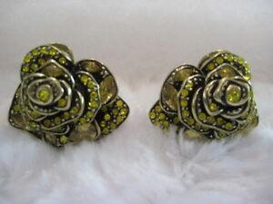 "HEIDI DAUS ""Showered With Flowers"" (Yellow) Omega-Pierced Earrings-LAST PAIR!!!"
