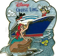 Disney Pin 52641 DCL Cruise Line Ariel & Friends Little Mermaid Princess on Rock