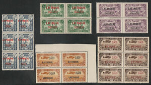 Syria, Lattaquie Blocks of 4 & 6, Mint Never Hinged.