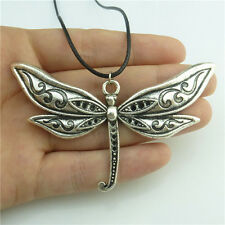 """89595 17"""" Leather Chain Alloy Silver Insect Animal Dragonfly Pendant Necklace"""