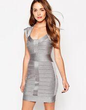 French Connection Miami Spotlight Silver Metallic Body-con Bandage Dress 2 XS