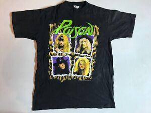 Rare Genuine Vintage 1990 POISON Flesh and Blood T Shirt Acme Australia Tour Med