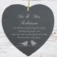 Personalised Large 20cm Heart Slate Wedding Gift Sentiment SLA210-MM1