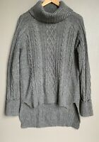 FOREVER 21 Womens Knit Pullover Sweater S Size Turtle Neck Gray Tunic Length