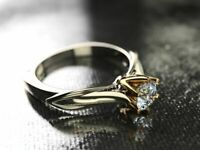 Simple 925 Silver Women Wedding Ring Romantic White Sapphire Two Tone Jewelry