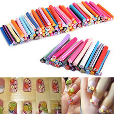 100pcs DIY 3D Fruit Flower Fimo Canes Rods Nail Art tips Glitters Decorations #L