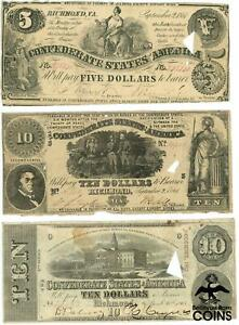 Lot of 4: 1861 & 1863 $5, $10, & $20 VARIOUS CANCELLED Confederate States Notes