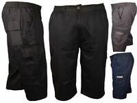 MenS 3/4 Long Length Elasticated Shorts Waist Cargo Combat Three Quarter PantsCZ