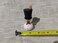 VTG Wood Christmas Snowman Frosty  Top Hat Bird Swedish Figure Nordic Sweden