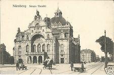 Nürnberg, Neues Theater, Pferdegspann, Mann mit Handwagen, Ansichtskarte um 1910