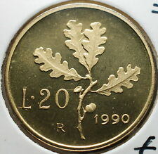 1990   Repubblica Italiana  20  lire  FONDO SPECCHIO  da divisionale