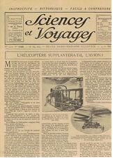 SCIENCES ET VOYAGES 1922 L'HELICOPTERE LA METAPSYCHIQUE AFRIQUE TRAIN BATEAU