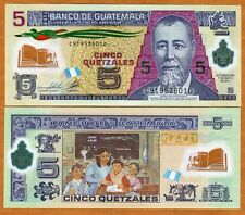 Guatemala, 5 Quetzales, 2011 (2013), P-122b New date and signature, POLYMER, UNC