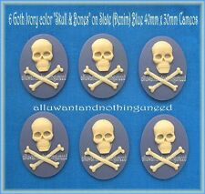 6 GOTH PUNK PIRATE HALLOWEEN SLATE (DENIM) BLUE SKULL & BONES 40mm x 30mm CAMEOS