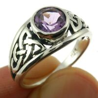 Celtic Stone Silver Ring, Mix US Size, w Amethyst, 925 Solid Sterling Silver,
