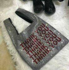 Womens Fashion Designer Crystal Mini Thank You Handbag Rhinestone Shopping Bag