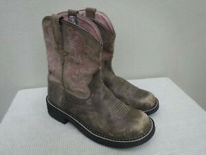 ARIAT FATBABY II BOMBER 8.5 39 Brown Leather Pink Western Cowboy Cowgirl Boots
