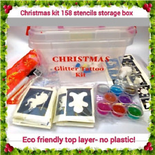 Christmas glitter tattoo kit OR refill stencils FREE ELF with boxed kit