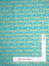 Dragonfly Fabric - Dragonflies Gold Aqua Northcott #2882 Garden Etchings - YARD