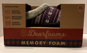 Dearfoams Women's Sweater Knit Clog Memory Foam Slippers (XL/11-12,Purple Multi)