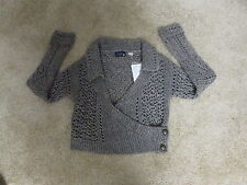 NEW! ANTHROPOLOGIE hand knit by DOLLIE metallic open weave cardigan. $128  M