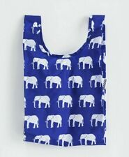 NIP Baggu Standard Reusable Shopping Bag Tote Eco Friendly Blue Elephant Print