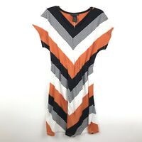 Grace Elements Womens Small Orange Black White Short Sleeve V Neck Midi Dress