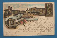 Alsace Bas-Rhin Elsass 67 AK Litho CPA Strassburg 1897 Strasbourg Gare Uhr Rues